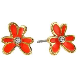 KATE SPADE Pansy Flower Orange Stud Earrings